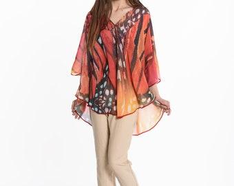 kaftan, top, digital print, tunic top, blouse, ponchos, shirt women, Chiffon Georgette Boho chic beach