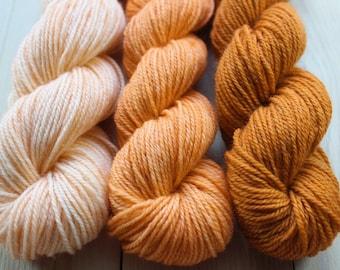 Mini skeins dyed hand - Fingering - Sw Merino and Nylon - 3 Minis 25/30 g-approximately 100 m per skein - oranges
