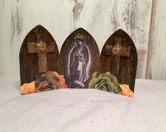 Virgin Mary Triptych Shrine   Devotional Shrine   Mary Of Guadalope    Catholic Art   Catholic