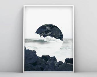 Minimalist Landscape Print, Scandinavian Wall Art, Nordic Printable, Home Decor Poster, Modern Abstract Nature, Coastal Photo Manipulation