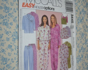 McCalls 3445 Missis / Miss Petite Nightshirt Top Camisole and Pull on Pants Sewing Pattern UNCUT Size Xsm Sml Med