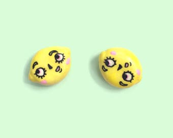 Handmade Foodie Earring Posts   Lemon