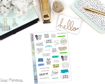 SNARK SAMPLER 4 - Paper Planner Stickers - Mini Binder Sized/3 Hole Punched