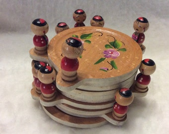 Wood coaster with tiny figurines. Made in Japan set of 10. Free ship