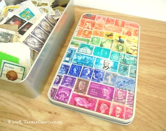 Rainbow 2 Tin Full of Postage Stamps on Paper - Stamp Collecting Starter Set