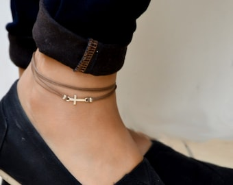 Cross wrap anklet, ankle bracelet with silver cross charm, christian catholic jewelry, brown cord, gift for her, bridesmaids gift, spiritual