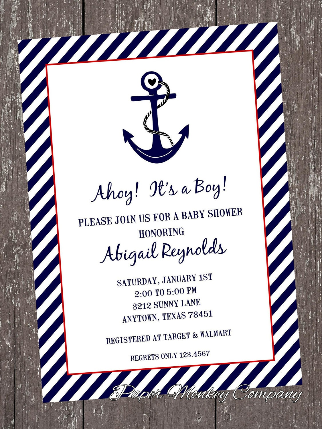 Nautical Baby Shower Invitations Each With Envelope - Baby shower invitation text