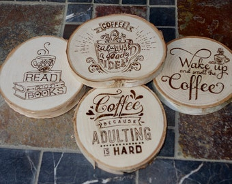 Coffee Lovers' wood coasters, woodburned / Set of 4