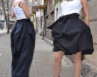 Black Skirt, Design Skirt, Cotton Skirt, 2 in 1 Skirt, Long Skirt, Short Skirt, Boho Skirt, Maxi Skirt, Changing Skirt by CARAMELfs S8417