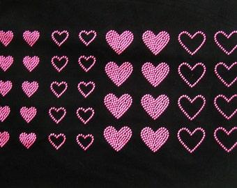 Ensemble de 36 néon rose coeurs strass goujon fer sur transfert - acheter 2, GET 1 FREE