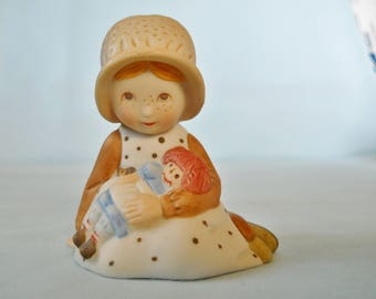 Vintage Holly Hobbie Girl with Rag Doll 1970's Bisque Figurine