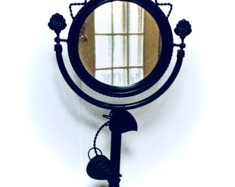 "Cast Iron 22"" Pedestal Mirror Swivel Shaving/Makeup Vanity Mirror Unisex Rustic in Design"