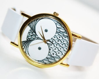 Owl watch, Leather Watch, Christmas Gift Idea, Women Watches, Men's watch, Birthday gift, Cute Watch, Style Watch, Gold Watch, Custom Watch