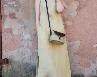 Long linen dress / Maxi linen dress / Yellow linen dress / Grey linen dress / Gray dress / Vacation dress / Long sleeveless dress / Handmade