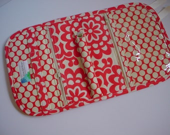 Travel Jewelry Organizer Pouch Clutch quilted in Amy Butler Lotus Wall Flower Cherry