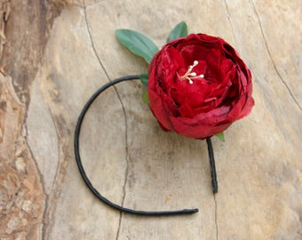 Headband, Flower Headband, Red Rose Headband, Hair Accessory, Bridal Hair Accessory