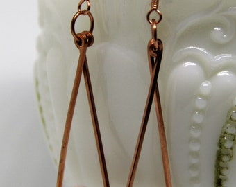 Hand Shaped, Copper,  Drop Earrings, Pink Morganite ,Peridot Chips