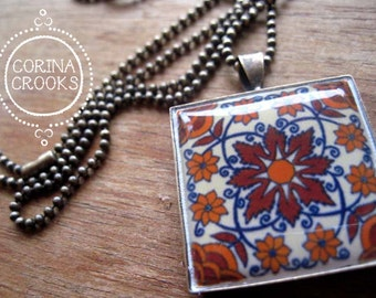 Pottery design pendant, Mexican Talavera tile design, bronze, Southwestern, Orange and brown jewelry, Mexican jewelry, MTO, Native jewelry