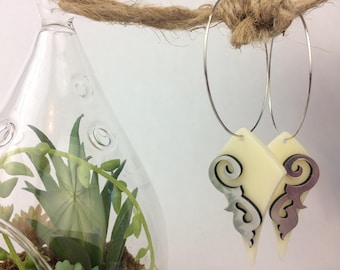 silver & beige earrings