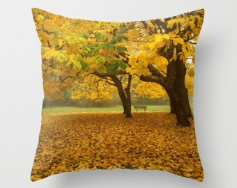 A Place To Contemplate Pillow Cover Autumn Leaves Woodland Scene Forest Yellow Leaves Fall Natural History Trees Nature Print