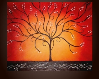 Sun Tree- Abstract Landscape Print. Free Shipping inside US.