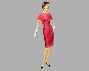 1960s Dress / Jacket pattern, Butterick 3255, Bust 37, Wiggle Dress and Jacket, Waist length V yoke, Back kick pleat, Bow closure on jacket