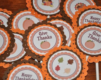 Thanksgiving Cupcake Toppers. Give Thanks Happy Thanksgiving. Cupcake Picks. Set of 12