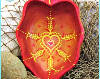 Heart Mandala Bowl, Original Art, Handpainted Wood Bowl, *red to yellow* #1715