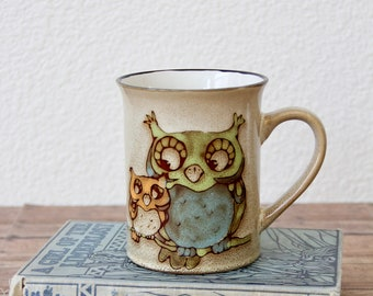 Owls - Owl Mug - Owl Cup - Owl Coffee Mug - Owl Coffee Cup - Owl Figurine - Owl Decor - Vintage Owl Mug - Vintage Owl Decor - Owl Painting