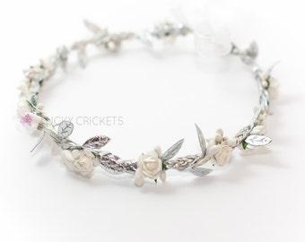 Silver Halo Headband, Halo Crown, Floral Crown, Silver Leaf Headband, Floral Halo, Greek Headband, Woodland Crown, Silver Leaf Crown
