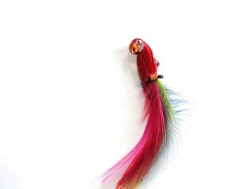 vintage parrot pin brooch with real feathers, red enamel & rainbow plumage