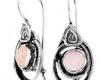 Sterling Silver Earrings, Rose Quartz Earrings,  Silver Jewelry, handmade