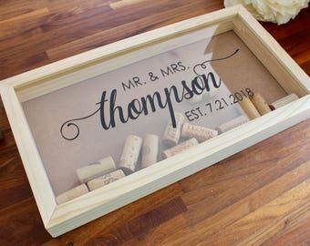 Personalized Wine Cork Keeper | Cork Holder | Custom Wedding Gift | Housewarming Gift | Rustic Wedding  | Wood Wine Cork Shadow Box