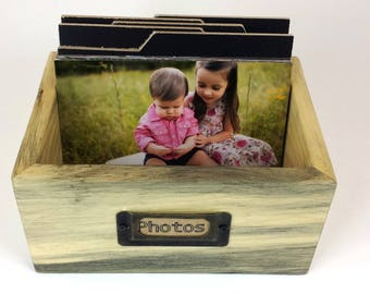 NATURAL RECLAIMED BARNWOOD Photo / Recipe Box, with Custom made divider cards included