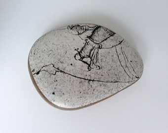 Stone paperweight, stone with collage, old stirrup illustration, stone stirrup decoration, special decoration, original object, cool design