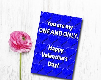 One and Only Valentine card, Printable Valentine Card, DIY Valentine's Card, Printable 5X7 Card, Valentine's Day Card, blue heart