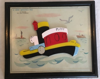 Vintage Puzzle 1960's Puzzle Child Guidance Puzzle Magnetic Puzzle Puffy the Tugboat