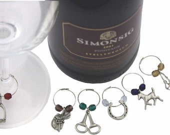 Equestrian Wine Charm Set, Pewter Horse Gifts