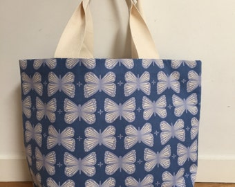 A girlie blue/white butterflies tote bag