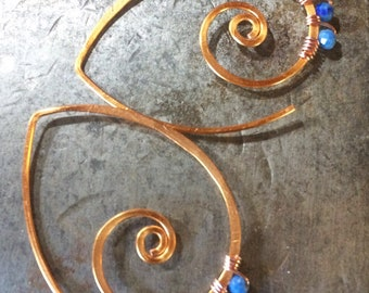 Wai and kai swirls in copper with choice of faceted rondelle gemstones