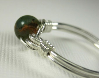 Wire Wrapped Ring Green Opal and Sterling Silver O Loop
