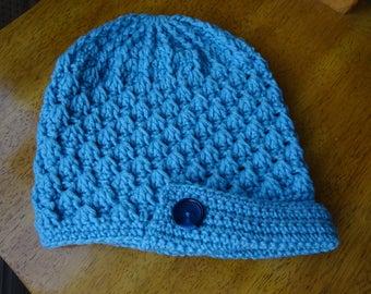 Crochet, textured pattern, blue peaked hat, teen/adults, accessory, winter