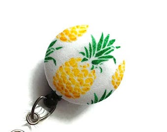Retractable Badge Reel - Badge Holder Nurse - Pineapple Badge Reel -Id Badge Clip - Name Badge Holder - Flower Badge Reel - Teacher Gift
