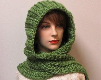 Avocado Green Scarf with Hood, Hooded Scarf, Gift for Women, Fashion Scarf, Winter Scarf, Warm Crochet Scarves, Elizabeth B6-059