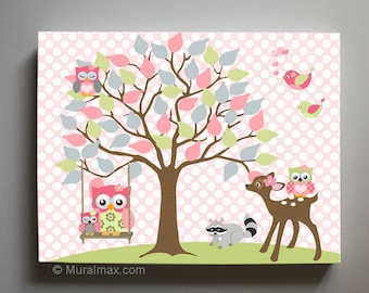 Owl Decor Girls Wall Art - OWL canvas art, Baby Nursery Owl with Swing Woodland whimsical nursery art for girl room