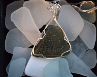 Beach Glass Sterling Silver Necklace, blown glass found in Barbados, sea glass pendant