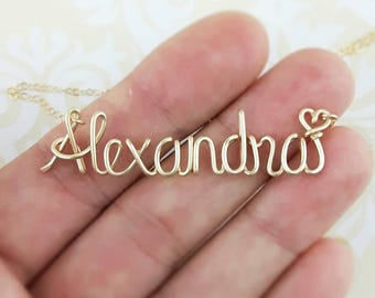 Name Necklace Gold Custom Wire Wrap Name Leave Your Choice