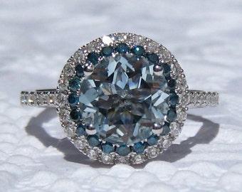 Aquamarine Engagement Ring, White Gold Diamond Halo Engagement Ring with Blue Diamonds, Blue Diamond Engagement Ring