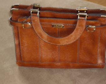"""Vintage Cognac Brown Cross Grain Leather Phillippe Top Handle Handbag / Small Briefcase / Leather Tablet Bag/  Leather 9"""" X 12"""" X 3"""""""