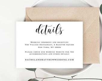 Wedding details card Wedding details printable template Enclosure card templates Details template Wedding information card template #vm31